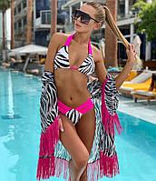 Жіночий купальник роздільний, малиновий колір