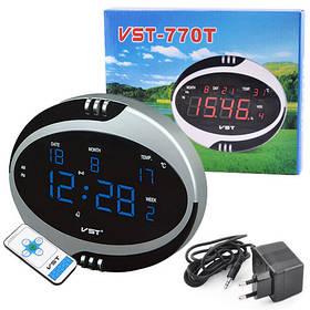 Часы сетевые VST-770Т-5 синие, температура, пульт Д/У, 220V