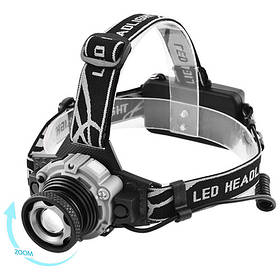 Ліхтар налобний Police W002-XPE, ЗУ 220V/12V, 2x18650, датчик руху, zoom, Box