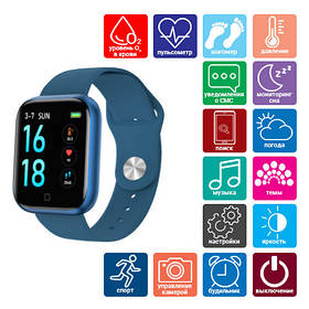 Smart Watch T80S, два браслета, температура тела, давление, оксиметр, blue