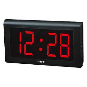 Часы сетевые VST-795-1 красные настенные, 220V