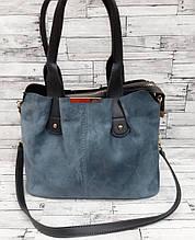Жіноча замшева сумка, блакитний колір ( код: IBG178L1 )