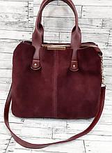Жіноча замшева сумка, бордовий колір ( код: IBG178KR1 )