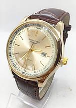 Мужские наручные часы Long, золото с коричневым ремешком ( код: IBW484YK )