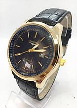 Мужские наручные часы Long, золото с черным ремешком ( код: IBW484YB )