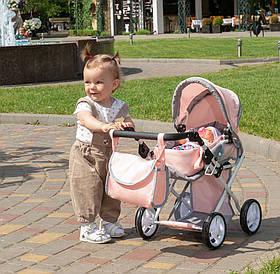 Коляска для ляльок з сумкою Carrello Unica 9346 Pink Рожевий