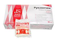 Перчатки JS смотровые, неопудренные, стер. р.L,M,S пара