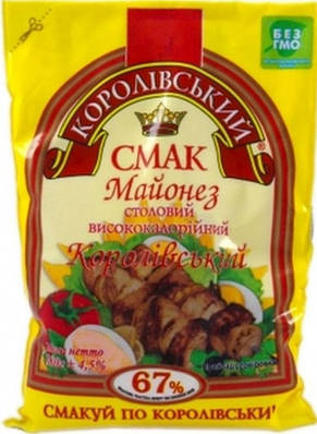 """Майонез ТМ """" Королівський Смак 67% 160 грам"""