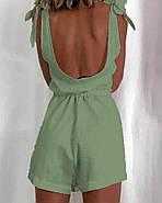 Короткий женский комбинезон с открытой спиной из льна, фото 2