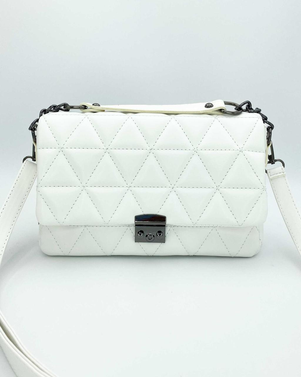 Сумочка белого цвета! Белая женская сумка мини кросс-боди 65600 клатч маленькая с ремешком через плечо