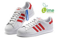Кроссовки, Adidas Superstar White-Red, фото 1