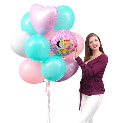 """Связка из круга """"Ура! Девочка"""", 1 белого, 2 розовых сердец, 5 мятных и 6 шаров пудра, фото 2"""