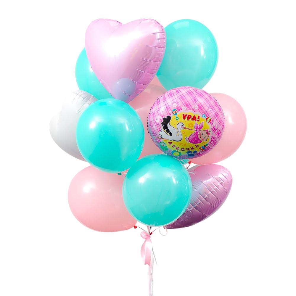 """Связка из круга """"Ура! Девочка"""", 1 белого, 2 розовых сердец, 5 мятных и 6 шаров пудра"""