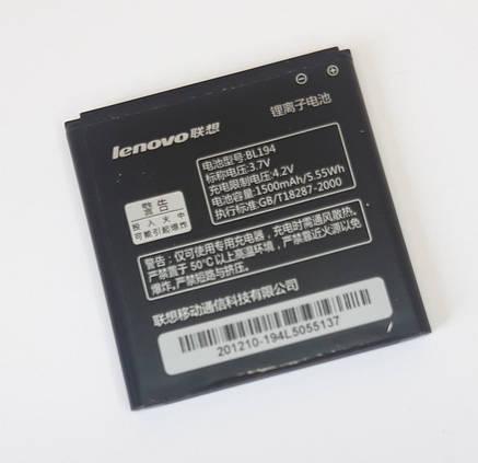 Аккумулятор Lenovo BL194 A288t / A298t / A520 / A660 / A698t / A690 / A326 / A5 1500 mAh оригинал б.у, фото 2
