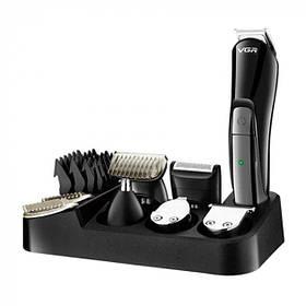 Багатофункціональний Тример набір для стрижки волосся і для гоління і носа VGR V-012 6 в 1 Чорний (V012)