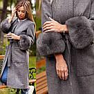Пальто мех на рукавах песец 10897, фото 2