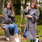 Пальто мех на рукавах песец 10897, фото 3