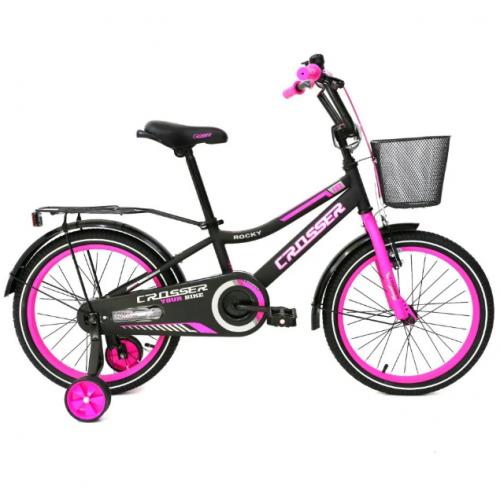 Детский двухколесный велосипед с корзинкой 18 дюймов  Crosser Rocky-13 розовый