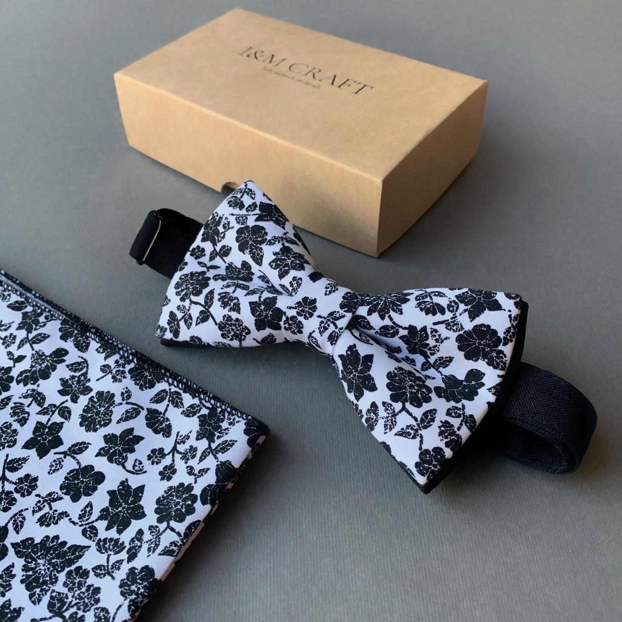 Набор I&M Craft галстук-бабочка + платок в пиджак белый с черными цветочками (011170)