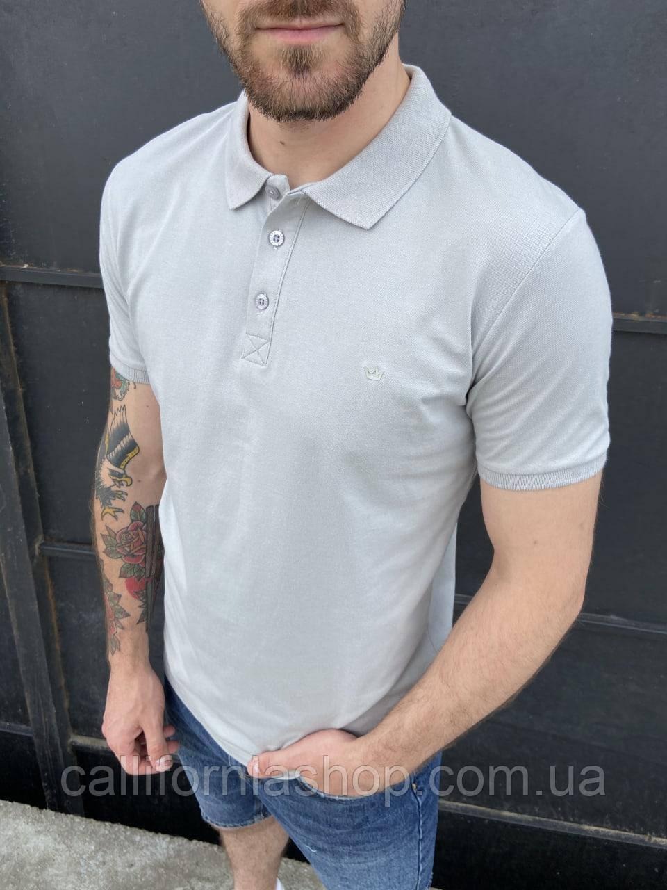 Мужская футболка поло светло-серая с воротником