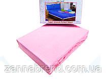 Комплект махровая простынь на резинке 160*200+25 см и 2 наволочки 50*70см цвет светло-розовый