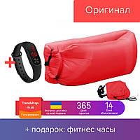 Надувной шезлонг гамак Ламзак Lamzac надувной матрас - мешок водонепроницаемый до 200 кг, красный