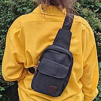 Рюкзак через плече тканинний (СР-2001) Чорний