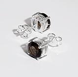 Раухтопаз (дымчатый кварц) серебряные серьги пуссеты, 661СРР, фото 2
