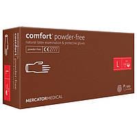Перчатки латексные MERCATOR Comfort Powder-Free WHITE неопудренные, размер L , 100 шт