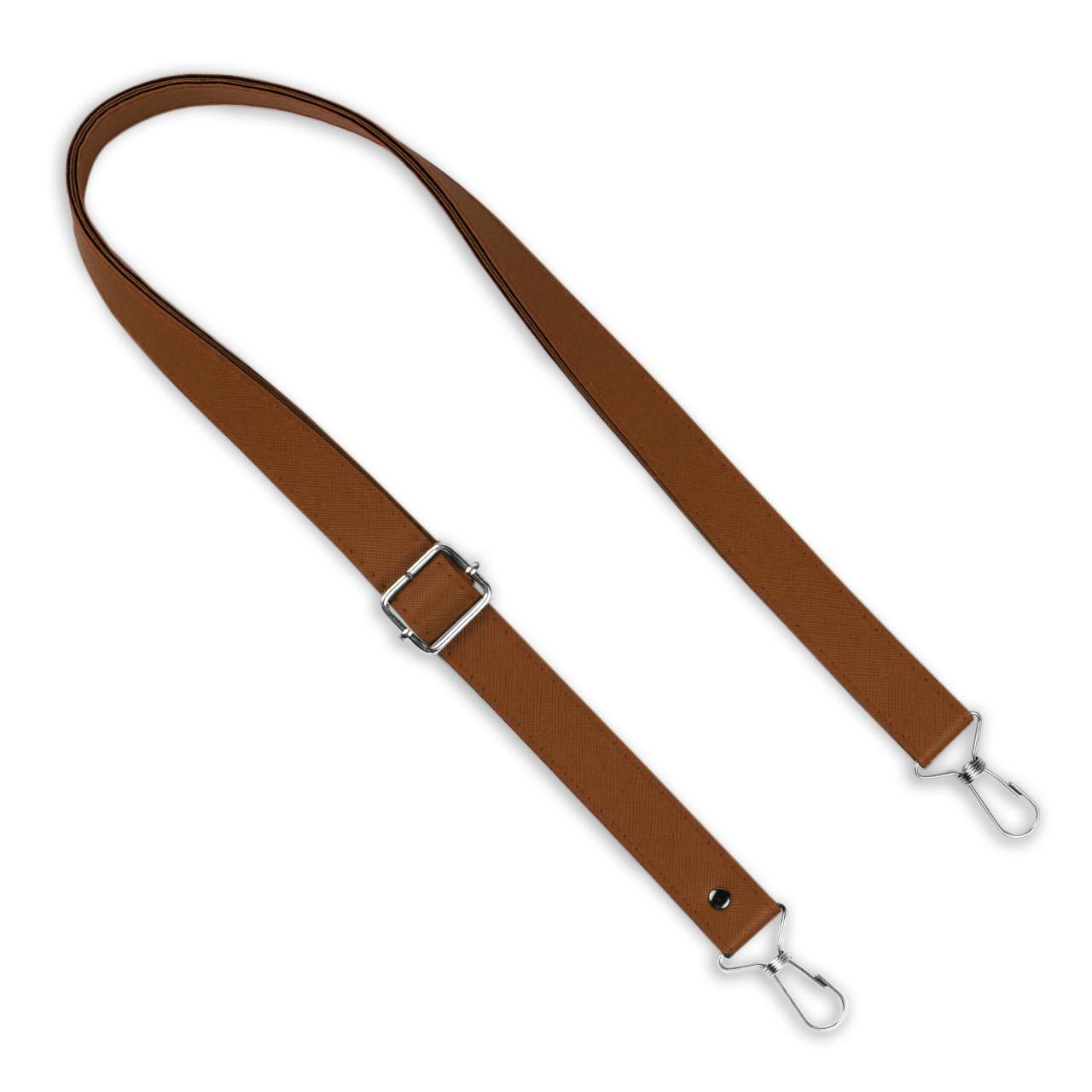 Ручка для сумки екокожа Браун регульована 66-130 см на неповоротних карабінах