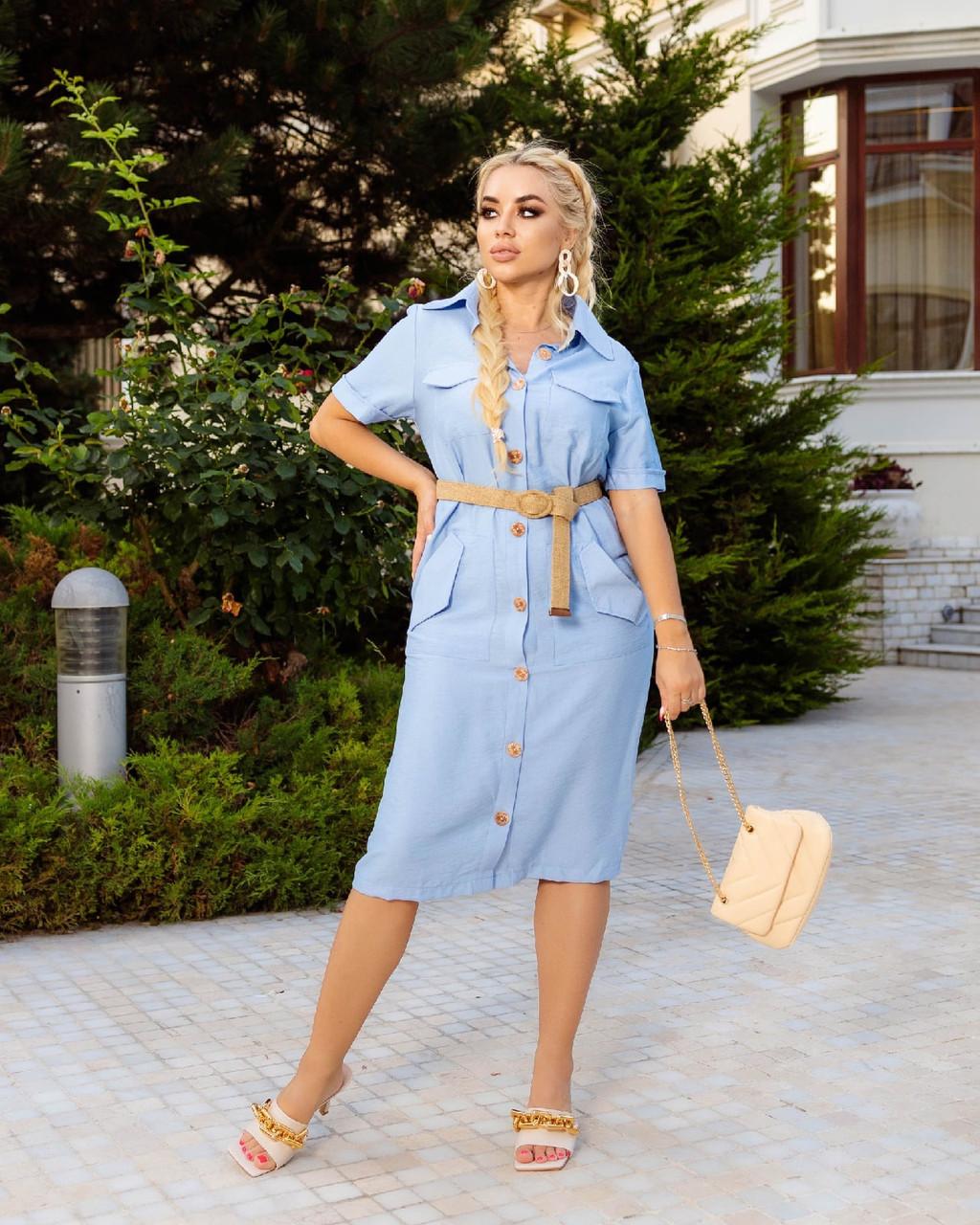 Вільне плаття з льону з кишенями на ґудзиках