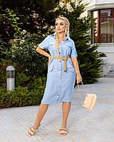Вільне плаття з льону з кишенями на ґудзиках, фото 1