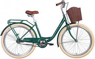 """Велосипед міський жіночий 26"""" Dorozhnik Lux 2021 рама 17"""" зелений"""
