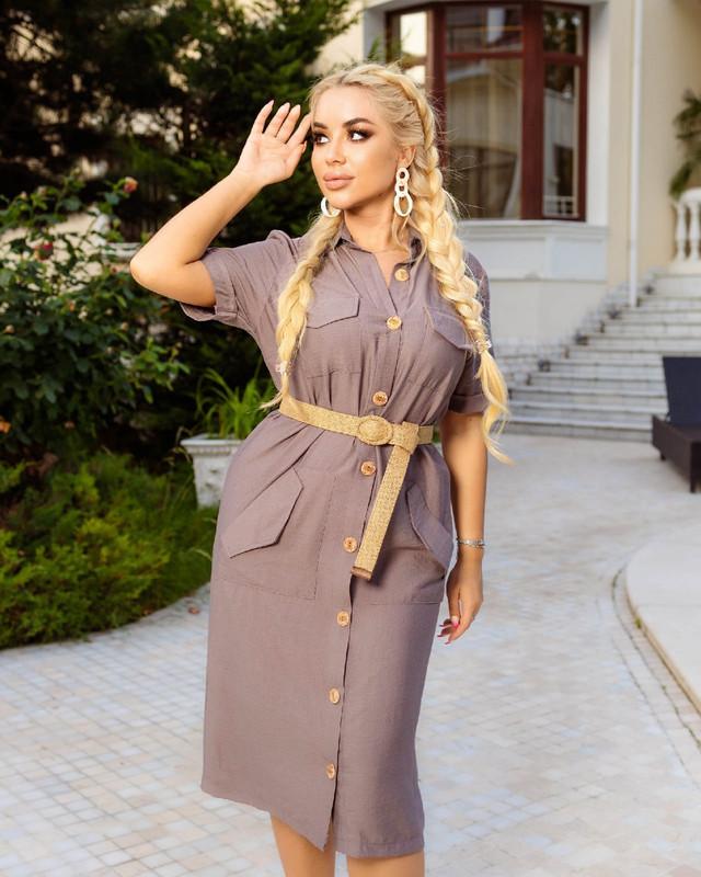 Свободное льняное платье с карманами на пуговицах