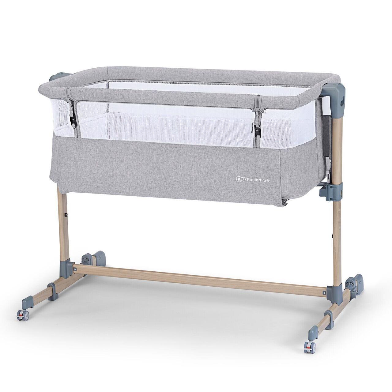 Доставне ліжко-люлька Kinderkraft Neste Air Grey Wood (KKLNEAIRGRY00W)