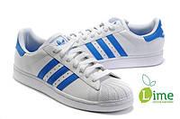 Кроссовки, Adidas Superstar White-Blue, фото 1