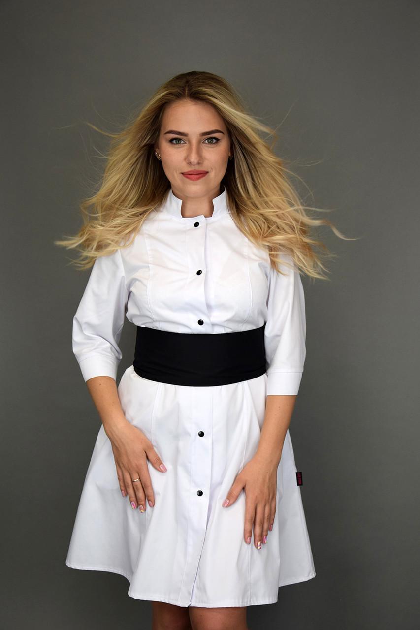 Универсальный женский халат с чёрным поясом