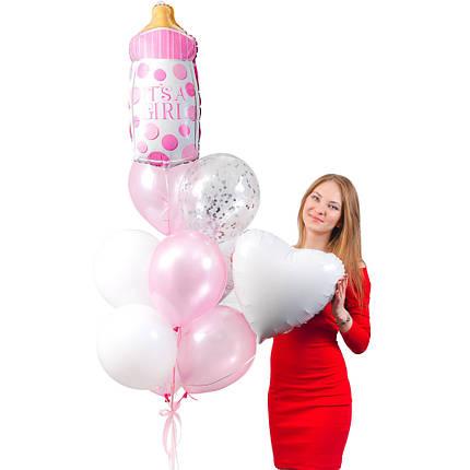 Связка из розовой бутылочки в горох, 2 белых сердец, 4 перламутровых розовых, 2 белых и 1 прозрачного шара с, фото 2