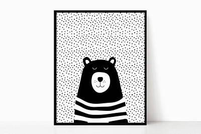 Плакат Ведмідь чорно-білий формат А3