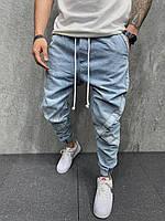 Мужские джинсы джогеры (голубые) крутые модные с карманами A6445