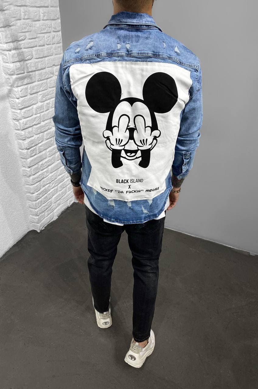 Мужская джинсовая рубашка-пиджак (голубая) A15139 с микки маусом легкая курточка