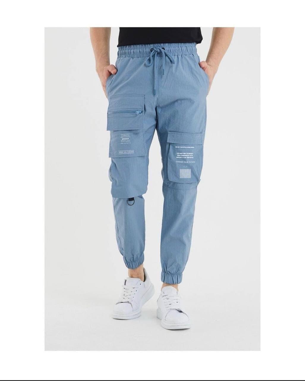 Чоловічі спортивні штани (блакитні) з кишенями, легкі завужені на літо s3013