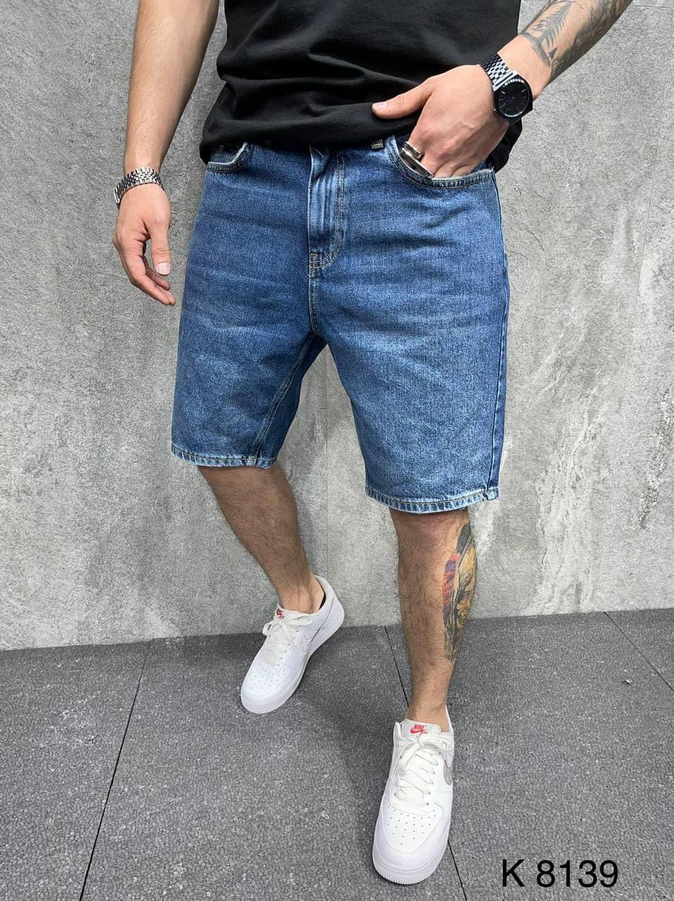 Мужские джинсовые шорты MOM (синие) свободного кроя летние AT8139
