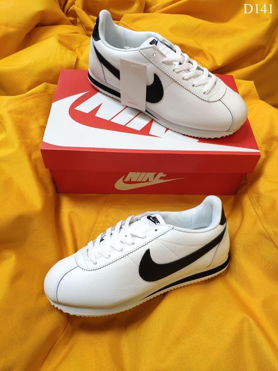 Чоловічі кросівки Nike Cortez Classic (біло-чорні) топові повсякденні кроси D141