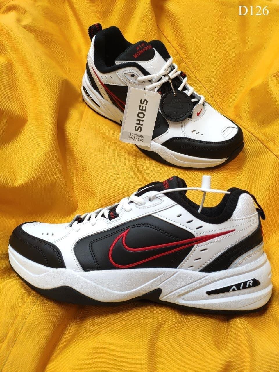 Чоловічі кросівки Nike Air Monarch IV (чорно-білі з червоним) зручна стильна взуття D126