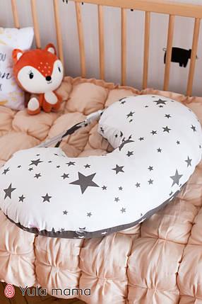 Подушка для кормления серая с белым для мальчика и для девочки хлопковая подушка с ремешком, фото 2