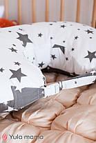 Подушка для кормления серая с белым для мальчика и для девочки хлопковая подушка с ремешком, фото 3