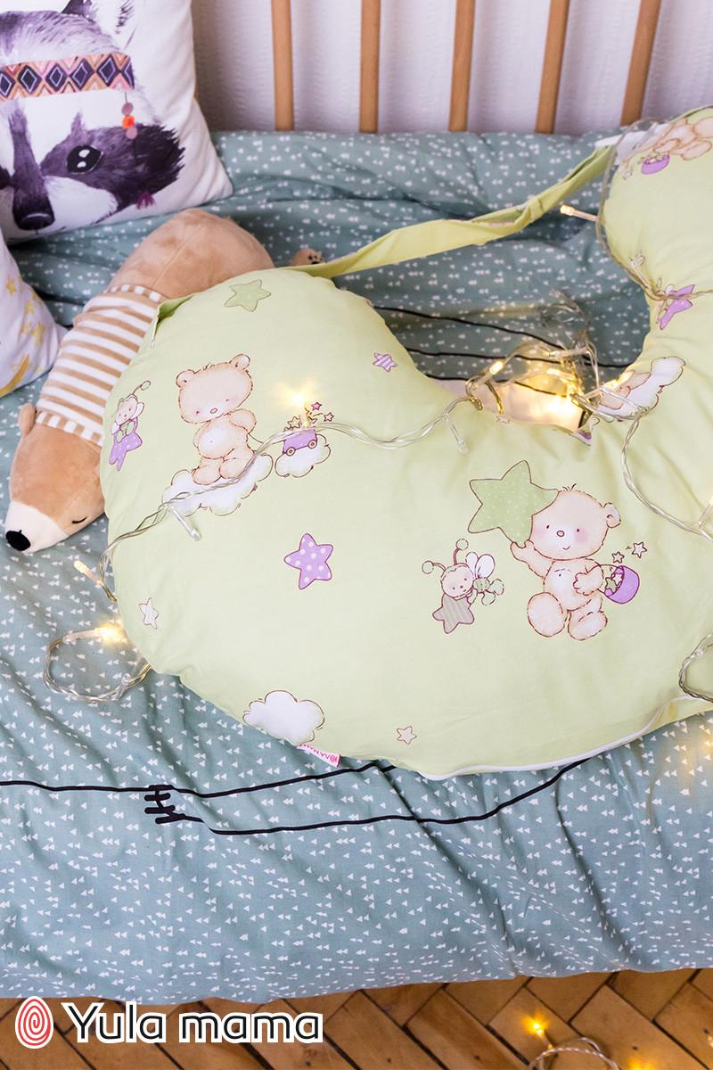 Подушка для кормления салатного цвета для мальчика и для девочки хлопковая подушка с ремешком