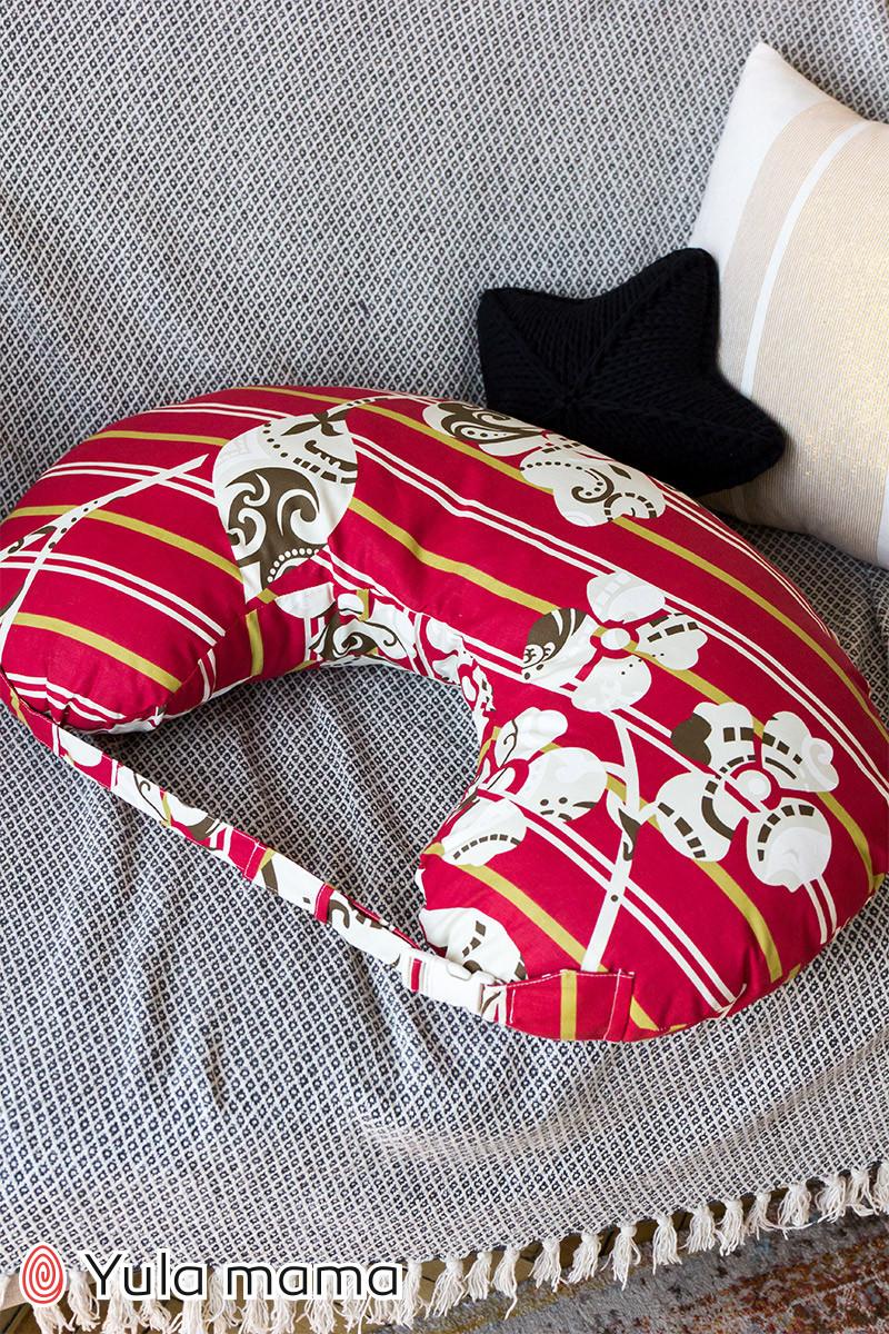 Подушка для кормления красного цвета для мальчика и для девочки хлопковая подушка с ремешком