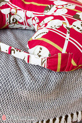 Подушка для кормления красного цвета для мальчика и для девочки хлопковая подушка с ремешком, фото 2